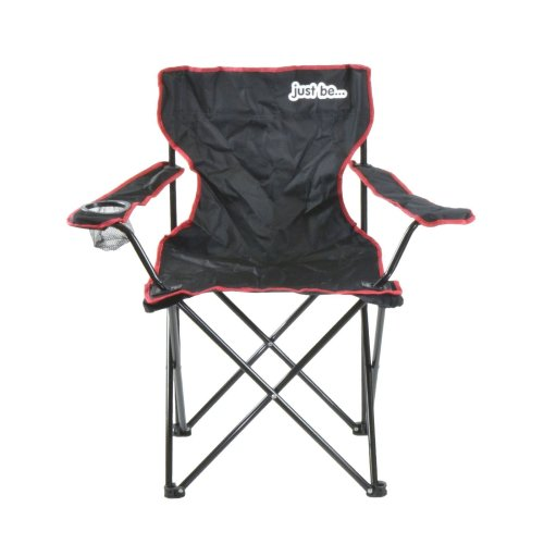 just be...® Folding Camping Chair - Black with Red Trim
