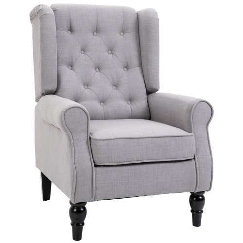 HOMCOM Accent Armchair Home Furniture Retro Tufted Club Wood Fabric Grey