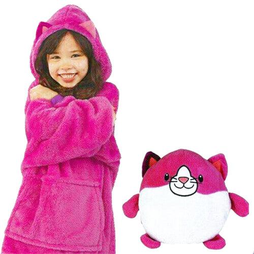 (red) Blanket Sweatshirt - Huggle Pets Hoodie, Plush Animals Bathrobe Pajama Pillow One Size
