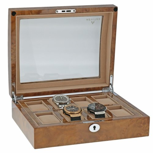 High Quality Watch Collectors Box for 8 Watches with Light Burl Walnut Veneer High Gloss Finish by Aevitas