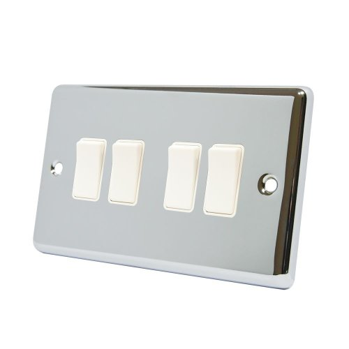 AET CPC4GSWIWH Polished Chrome Classical White Insert Plastic Rocker Switches-10 Amp 4 Gang 2 Way Light Switch