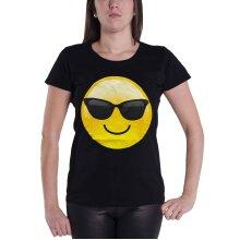 Emoji Icon T shirt parody funny emotion Cool Shades Womens Skinny Fit Black