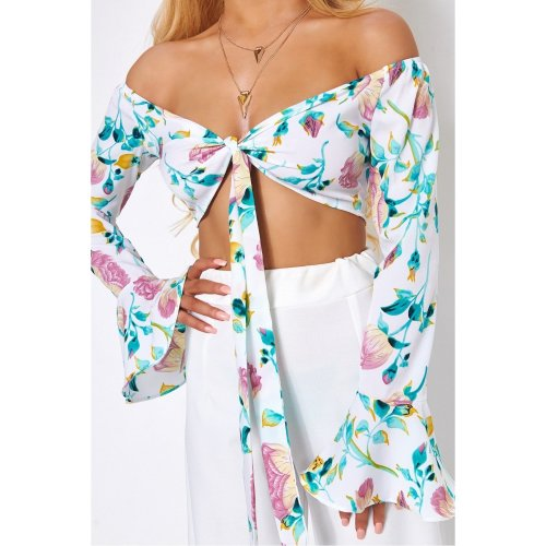 Casablanca White Floral Front Tie Crop Top