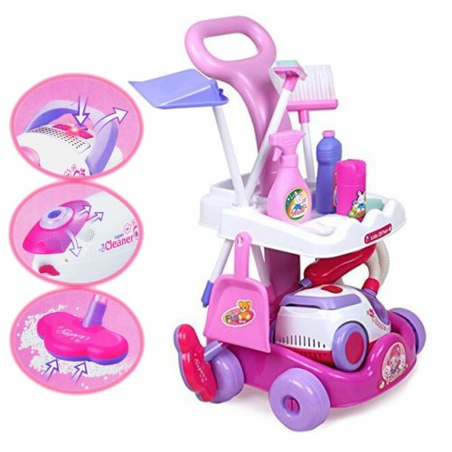 deAO Housekeeping Cleaning Trolley Playset Caddy Includes Accessories and Toy Vacuum with Sounds and Lights