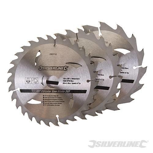Silverline Tct Circular Saw Blades 16, 24, 30t 3pk 150 x 20 - 16, 12.75mm Rings -  circular saw blades tct 16 24 silverline x 150 30t 20 1275mm 292712