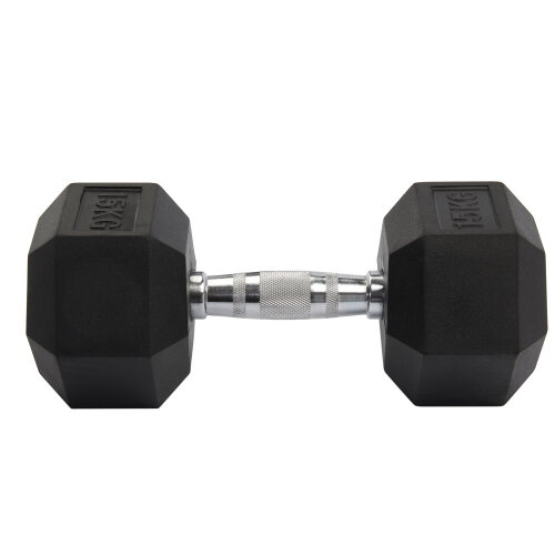 (2*8kg) Rubber Encased Dumbbell Hex Weights Gym Lifting