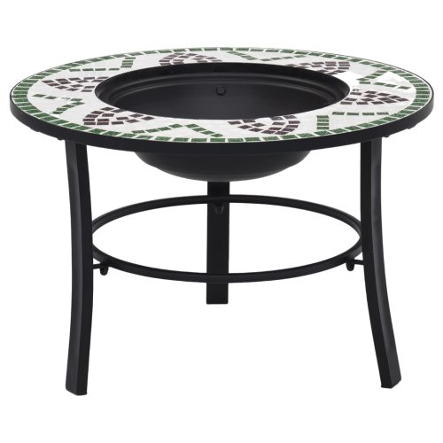 vidaXl Mosaic Fire Pit Green 68cm Ceramic Tile Firepit Garden Table BBQ Stove