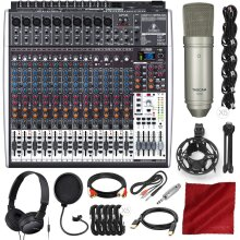 Behringer Xenyx X2442USB 24-Input 4/2-Bus Mixer with USB/Audio Interface and Effects + Headphones & Microphone Platinum Bundle