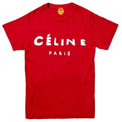 (L, RED) Celine Paris Women Fashion T Shirt Top