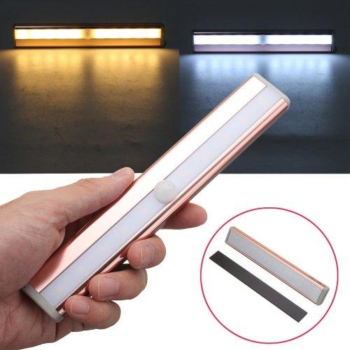 Wireless 10 LED PIR Infrared Human Body Motion Sensor Cabinet Lamp Light Battery Powered