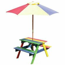 Children's Wooden Rainbow 2 in 1 Kids Picnic Table and Parasol Set G-0115