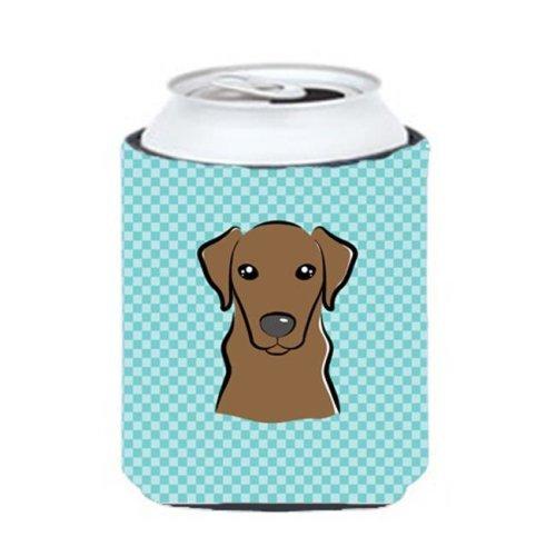 Checkerboard Blue Chocolate Labrador Can Or Bottle Hugger, 12 Oz.