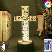 The Holy Bible Psalm Poem Christian Cross Led Night Light