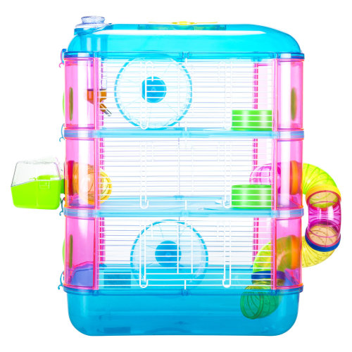 Blue 3-Tier Hamster House | 3-Storey Hamster Activity Cage
