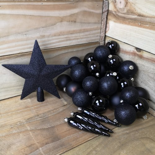 33 Assorted Christmas Black Glitter, Shiny, Matte Baubles And Tree Topper