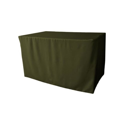 TCpop-fit-48x30x30-OliveP21 1.8 lbs Polyester Poplin Fitted Tablecloth, Olive