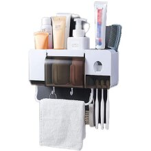 Automatic Toothpaste Dispenser Bathroom Toothbrush Holder Multifunctional Bathroom Space Saving Organizer Dust Cover Towel Bar No Drilling Required