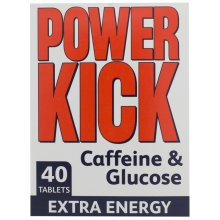 Power Kick Tablets Cafeine & Glucose Extra Energy 40 Tablets