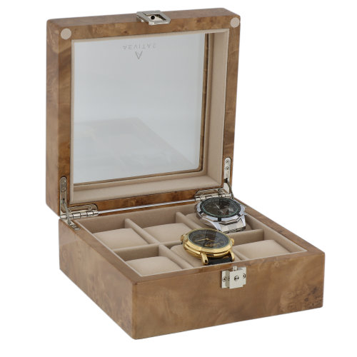 Watch Box for 6 Wrist Watches in Light Burl Wood by Aevitas