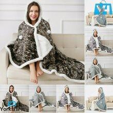 Luxury Hooded Super Soft Snuggle Blanket Sherpa Fleece Throw Xmas Gift 130x180cm