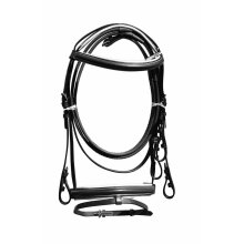 LEATHER HORSE BRIDLE WITH RUBBER GRIP REINS BLACK COLOR ALL SIZES