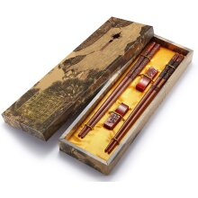 Chopsticks Reusable, Chinese Style, Wooden Dragon and Phoenix Chopsticks with Holder and Carrying Bag, Chinese Gift Set Chopsticks Set2 Pai