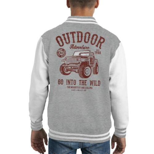 Outdoor Adventure Go Into The Wild Jeep Kid's Varsity Jacket