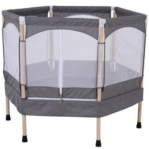 HOMCOM Kids' Grey Hexagon Trampoline with Safety Enclosure Net