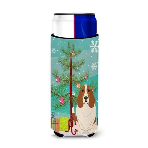 Merry Christmas Tree Basset Hound Michelob Ultra Hugger for Slim Cans
