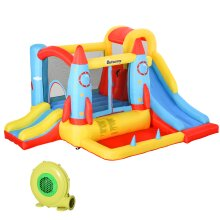 Outsunny Bounce Castle House Inflatable Rocket Design w/ Carrybag and Inflator
