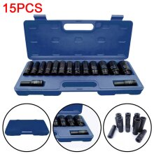 "15x 1/2"" inch Deep  Socket Tool Set 10-32mm Metric Garage Workshop"
