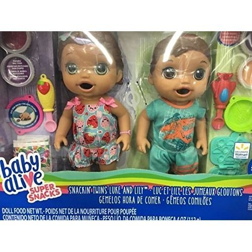 Baby Alive Super Snacks Snackin/' Twins LUKE /& LILY Dolls Blonde Hair NEW IN BOX