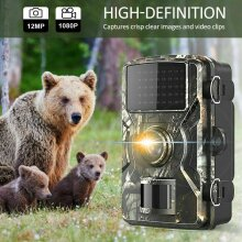Hunting Trail Camera 12MP HD 1080P Wildlife Cam Infrared Night Vision