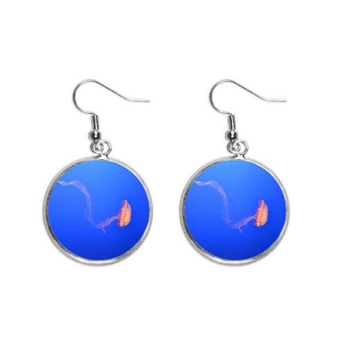 Nebulae White Blue Planet Ear Dangle Silver Drop Earring Jewelry Woman