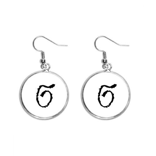Greek Alphabet Sigma Black silhouette Ear Dangle Silver Drop Earring Jewelry Woman