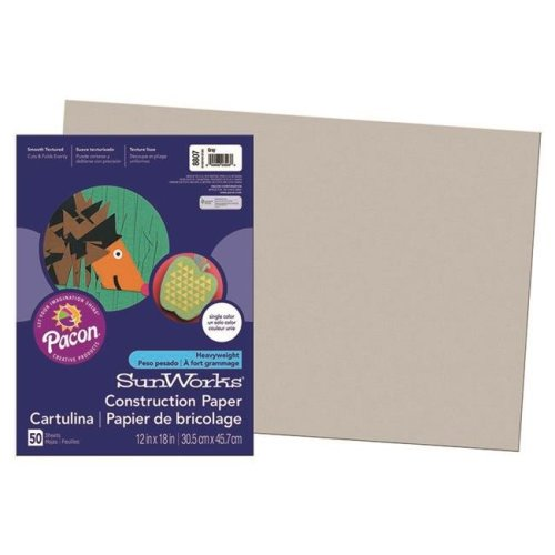 Pacon PAC8807BN 12 x 18 in. Gray Groundwood Construction Paper - 50 Sheets per Pack