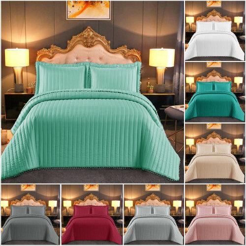 Luxury Bedspread Quilted Comforter Bed Throw Set