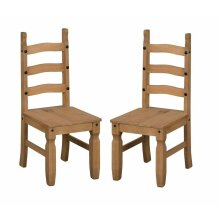 Corona Dining Chairs x 2 Mexican solid wood Pine Mercers Furniture