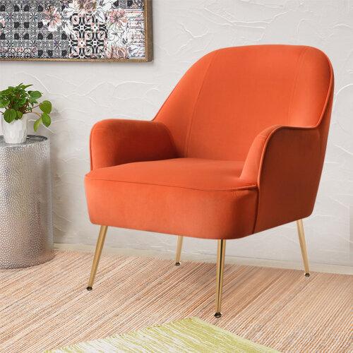 Modern Velvet Armchair Upholstered Lounge Tub Chair Orange