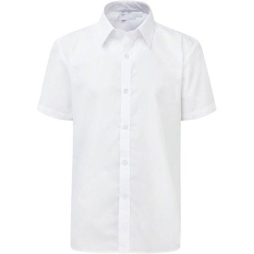 "Boys School Shirt Short Sleeve Twin Pack White 17.5"" Collar"