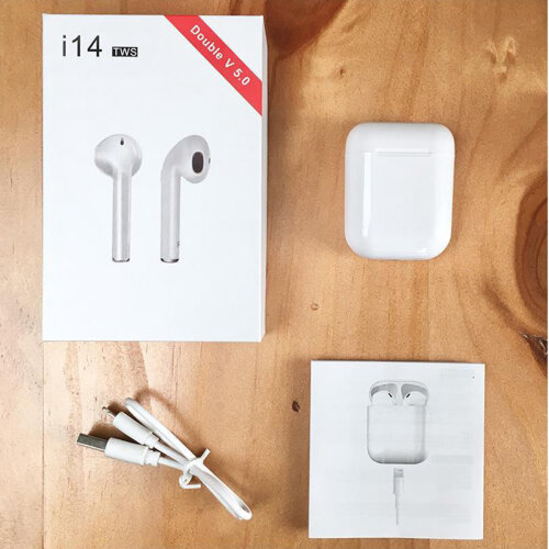 White I14 TWS Wireless Bluetooth 5.0 Earphone Super 3D Stereo Earbuds