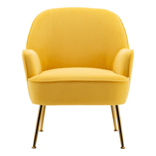(Yellow) Occasional Velvet Armchair Upholstered Lounge Tub Chair with Solid Legs