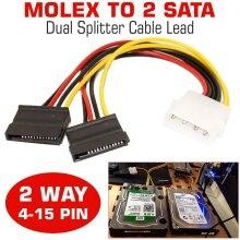 Molex to Dual SATA Converter Y Power Cable Lead Adapter 2 Way 4-15 Pin