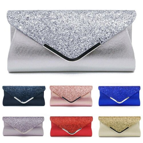 Women,s Glitter Shimmer Envelope Ladies Sequins Evening Party Prom Smart Jane Clutch Bag, Handbag