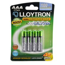 Lloytron B1004 Rechargeable Accuultra AAA Ni-MH Batteries 1100mAh - 4 in a Pack