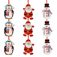 Set of 9 Wooden Christmas Tree Decorations - Fun Characters
