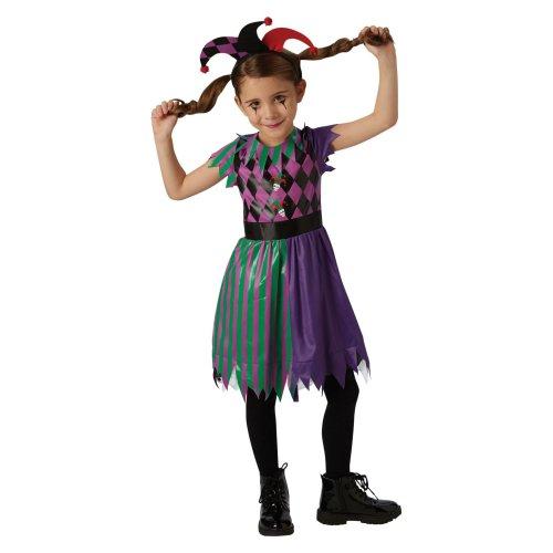 Kids Girls Harlequin Cutie Jester Circus Fancy Dress Halloween Costume Outfit