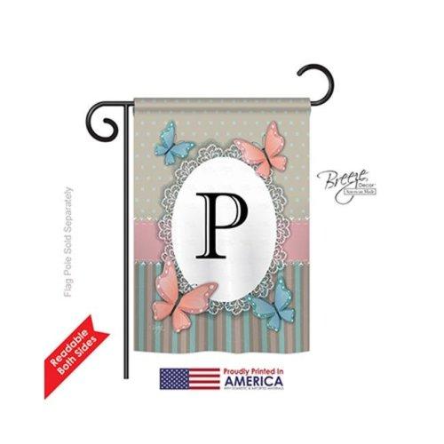 Breeze Decor 80146 Butterflies P Monogram 2-Sided Impression Garden Flag - 13 x 18.5 in.