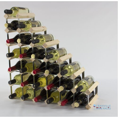 Classic understairs pine wood and galvanised metal wine rack ready assembled
