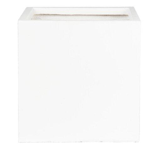 (White, L25 W25 H25.5) Square Box Contemporary Light Concrete Planter by Idealist Lite